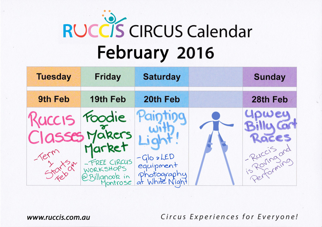 "This month we have Classes resuming, free Circus workshops at the Foodie and Makers Market, Andy Phillips and Anita G running a ""Painting with Light"" workshop at White Night and the Upwey Billy Cart races!"